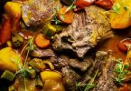 Jamaican Style Slow Cooked Lamb Curry with Okra & Potatoes